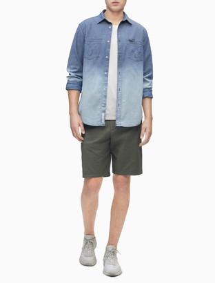 Calvin Klein Dip-Dye Chambray Button-Down Long Sleeve Shirt
