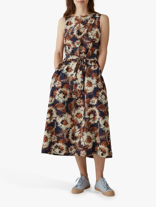Toast Iria Floral Print Cotton Dress, Navy/Multi