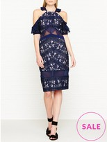 Three floor Inky Floral Embroidered Lace Drop Shoulder Dress
