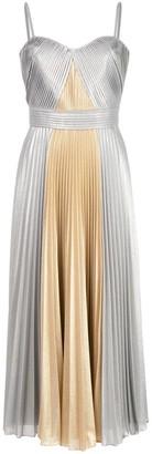 Marchesa Notte Pleated Metallic Tea Length Dress