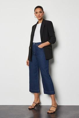Karen Millen Indigo Wide Leg Cropped Jeans