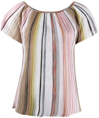 Missoni Scoop Neck Striped Knit Top