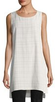 Eileen Fisher Sleeveless Plaid Twill Crepe Top