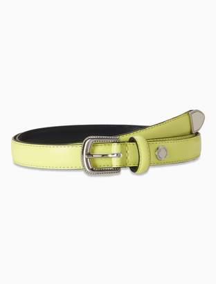 Calvin Klein Leather Metal Tip Skinny Belt