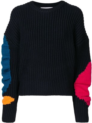 Enfold Contrast-Panel Ribbed Jumper