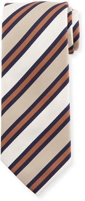 Brioni Men's Wide Stripe Silk/Cotton Tie