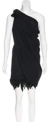Azzaro Father-Trimmed Wool Dress
