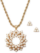 Charter Club Gold-Tone Imitation Pearl Pendant Necklace and Stud Earrings Set, Created for Macy's