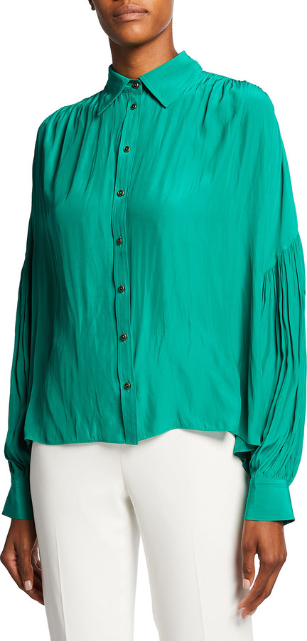 Ramy Brook Margaux Button-Front Pleated Shirt