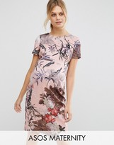 Asos T-Shirt Bodycon Dress In Pretty Floral Print