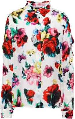Love Moschino Ruffled Printed Jacquard Shirt
