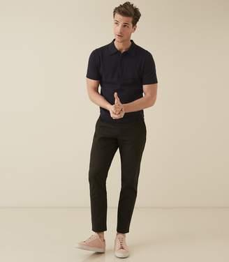 Reiss Varsity - Short Sleeved Cotton Polo in Navy