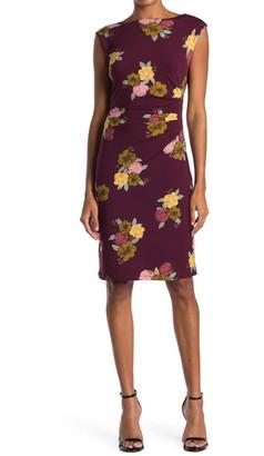 Catherine Malandrino Floral Ruched Cap Sleeve Sheath Dress