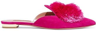 Aquazzura Powder Puff Pompom-embellished Suede Slippers