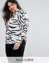 Asos Top with Extreme Sleeve in Zebra Print