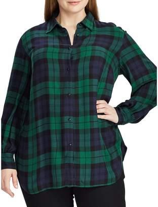 Chaps Plus Plaid Bishop-Sleeve Shirt