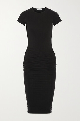 James Perse Ruched Stretch-cotton Jersey Dress - Black