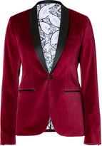 Each Other Velvet Tuxedo Blazer in Burgundy