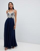 Asos Design DESIGN pearl basque embellished crop top maxi dress