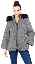 Betsey Johnson Betseys Faux Fur Trimmed Capelet