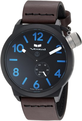 Vestal Stainless Steel Quartz Watch with Leather Calfskin Strap