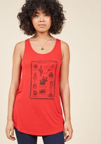 MDT1046H What treasures will you spot under the sun today? Turn to this red tank top to find out! Below this ModCloth-exclusive tunic's scoop neckline, an illustrated screen print showcases some of Arizona's finest natural findings. How fun!