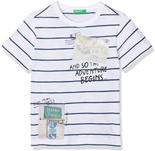 Benetton Boy's T-Shirt T-Shirt, Multicoloured (White with Stripes and Two Postcard Printed 901)