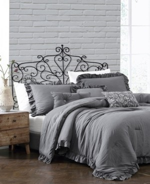 Montage Home Davina Enzyme Ruffled 6 Piece Comforter Set, King Bedding