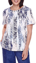 Alfred Dunner Short-Sleeve Animal-Print Top