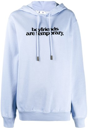 Off-White Oversized Slogan Print Hoodie