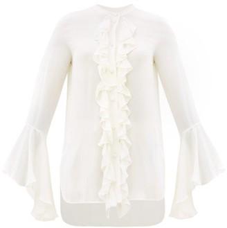 KHAITE Keith Fluted-sleeve Ruffled Silk-georgette Blouse - Ivory