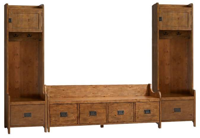 Pottery Barn Wade 3-Piece Bench & Tower Entryway Set, Weathered Pine