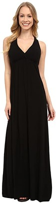 Hard Tail Twisty Back Maxi Dress (Black) Women's Clothing