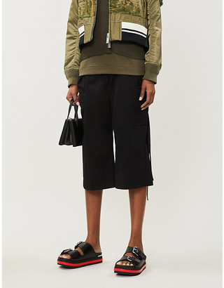 Sacai Cropped high-rise wide-leg cotton-twill trousers