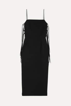 MATÉRIEL Lace-up Cady Midi Dress - Black