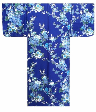"""Japan Craft Traditional & Authentic Japanese Ladies Kimono - Peony & Cherry Blossoms Design - Blue Colour - 100% Cotton - Made in Kyoto Japan (Medium / 56"""" Length)"""