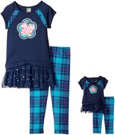 Dollie & Me Big Girls' Knit Drop Waist Dress with Flower and Knit Plaid Legging