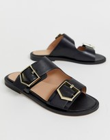 Office Sage leather black buckle flat slip on mules