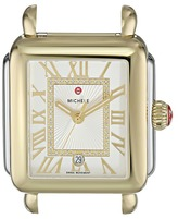 Michele 33mm x 35mm, Deco Madison Two-Tone Diamond Dial Silver Watches