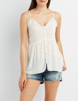Charlotte Russe Strappy Button-Up Tank