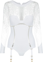 NEOPRENE DESIRE Bodysuit with suspender straps
