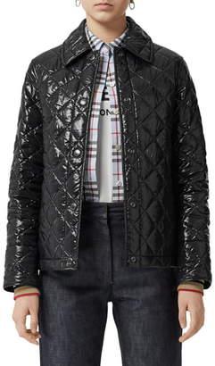 Burberry Heathfield Frinton Knit Cuff Quilted Jacket