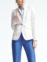 Banana Republic White Linen-Blend Blazer