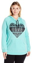 Miss Chievous Juniors Plus Size Long Sleeve Burnwash Heart Pullover Sweater