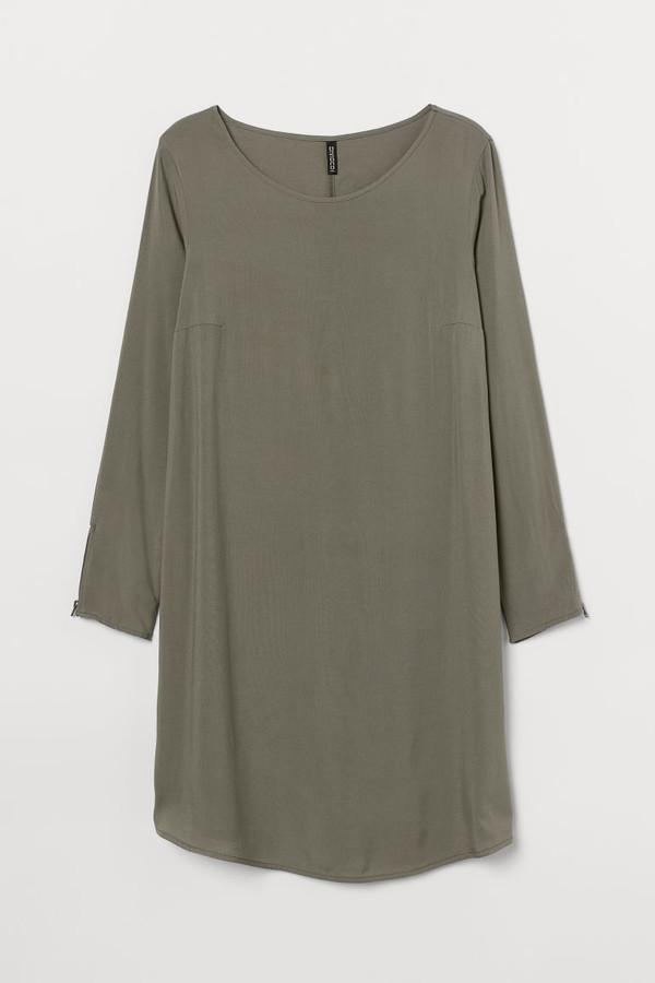 H&M H&M+ Short Viscose Dress - Green