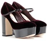 Miu Miu Velvet and patent leather platform pumps