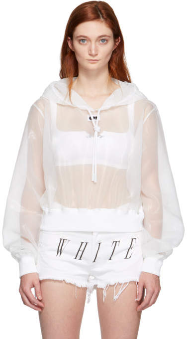 Off-White White Sheer Cropped Hoodie