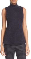 Theory Women's Eulia Tidle Suede Front Mock Neck Top