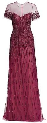 Pamella Roland Tulle Sequin Embellished Gown