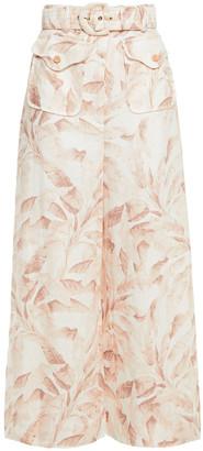 Zimmermann Super Eight Safari Cropped Belted Printed Linen Wide-leg Pants